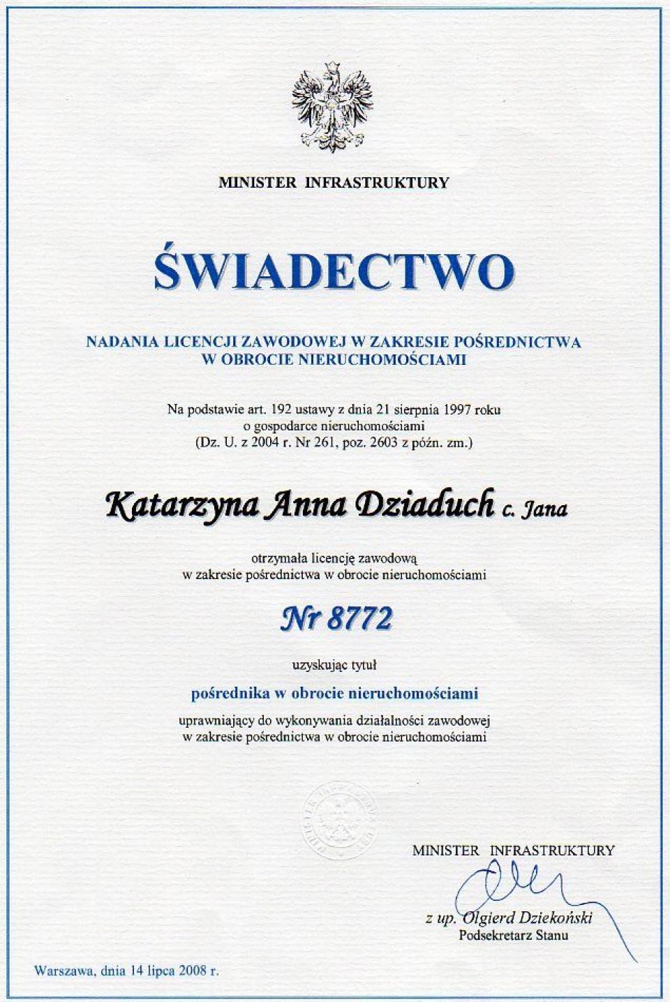 Licencja Katarzyna Szubińska Dziaduch